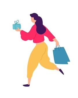 Abbildung eines mädchens mit dem einkaufen.
