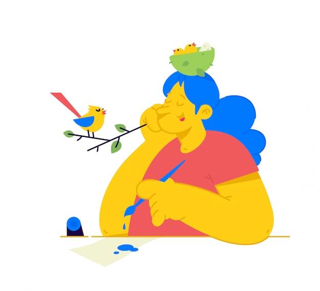 Abbildung eines mädchens mit einem nest der küken auf ihrem kopf. eine frau lauscht dem vogelgesang, um sich inspirieren zu lassen.