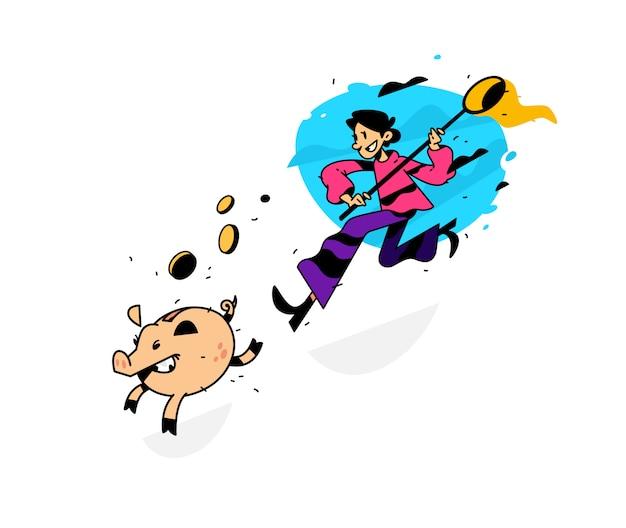 Abbildung eines mannes, der ein sparschwein mit einem netz nachläuft
