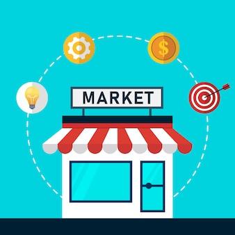 Abbildung eines marktplatzes mit einem symbol