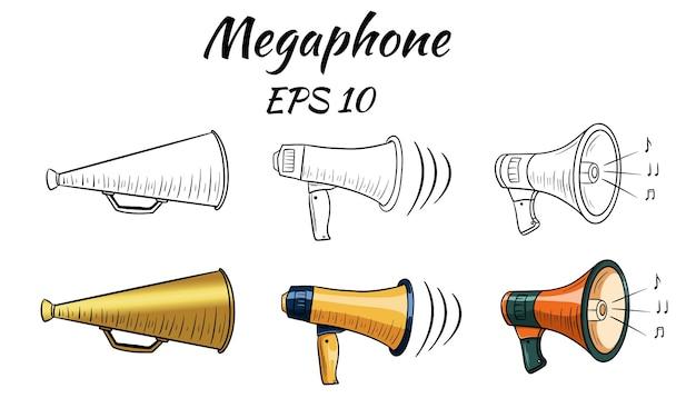 Abbildung eines megaphons, lautsprecher. cartoon-stil. isoliert über weißem hintergrund.