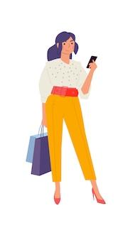 Abbildung eines netten modernen mädchens mit einem telefon.