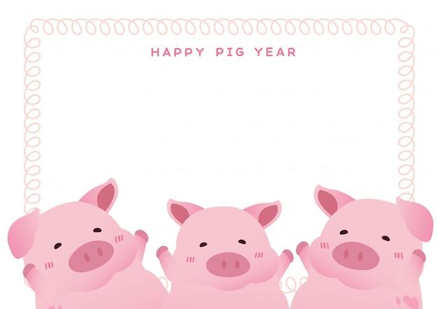 Abbildung eines schweins und des einfachen rosafarbenen rahmens