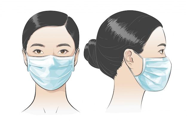 Abbildung frau trägt medizinische chirurgische einweg-gesichtsmaske.