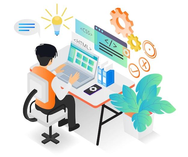 Abbildung im isometrischen stil über einen webprogrammierer, der mit seinem computer arbeitet