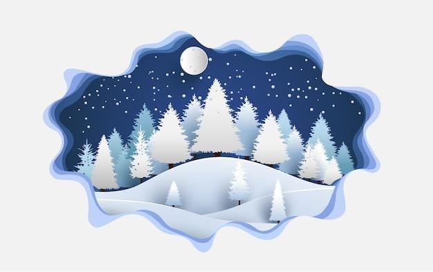 Abbildung kiefernwald in der saison mit design von papierkunst und handwerk