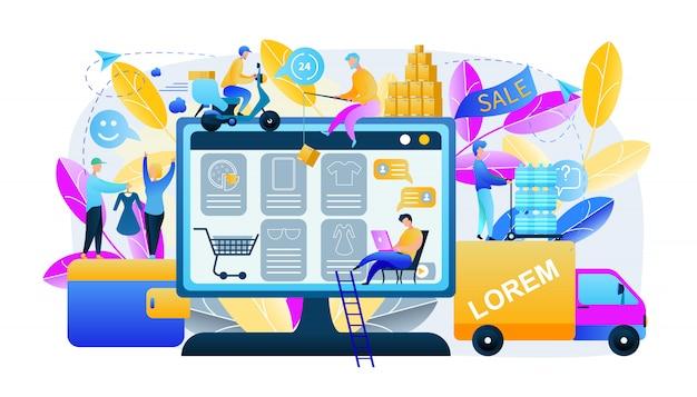 Abbildung mann produziert online-shopping