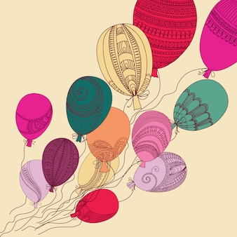Abbildung mit bunten fliegenballonen