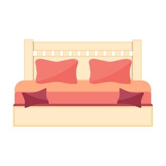 Abbildung mit doppelbett auf weißem hintergrund. vektor-symbol.