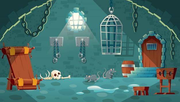 Abbildung mit mittelalterlicher gefängniszelle. castle dungeon, raum für gefangene