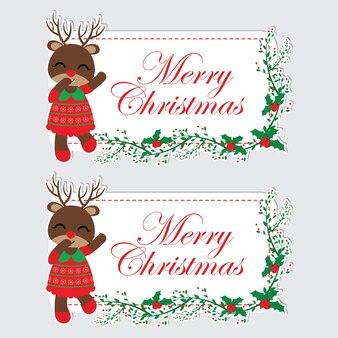 Abbildung mit niedlichen rentier mädchen ist glücklich und rote beere textrahmen geeignet für chritsmas etikettendesign