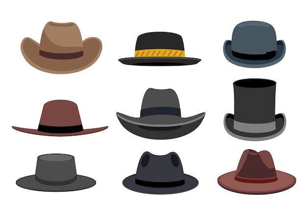 Abbildung mit verschiedenen arten von herrenhüten verschiedene männliche hüte mode und vintage-mannhut