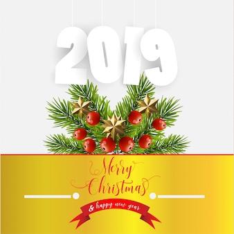 Abbildung mit weihnachts- und neujahrsdekorationen. weihnachtsgeschenk