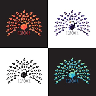 Abbildung pfau, logo-design-set. vector abstraktes logo des farbigen vogelpfaus mit krone auf hintergrund. vorlage für symbol, logo, druck, tattoo. pfauenschwanz offen. vorderansicht.