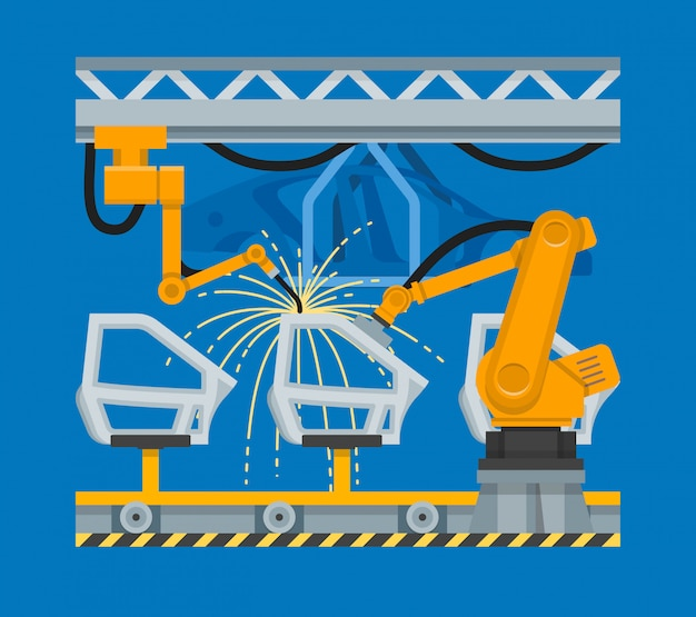 Abbildung punktschweißen von autotüren mit industrierobotern