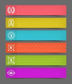 Abbildung - satz abstrakter banner mit gezeichneten nummerierten emblemen