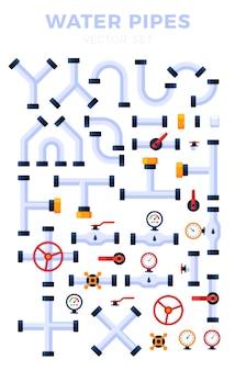 Abbildung satz von rohren verschiedener typen isoliert. wasserrohre, elemente für den gasventilbau, ölindustriekonzept im flachen stil.