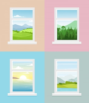 Abbildung verschiedener fensteransichten. berge, wald, felder, meer mit sonnenaufgang fensteransichten sammlung im flachen stil.