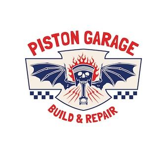 Abbildung vintage fledermaus kolben garage motorrad club logo abzeichen