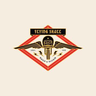 Abbildung vintage flying skull garage motorrad club logo abzeichen