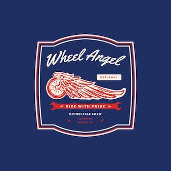 Abbildung vintage reifen flügel motorrad garage club logo abzeichen