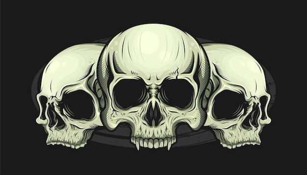 Abbildung von drei schädelkopf detailliert