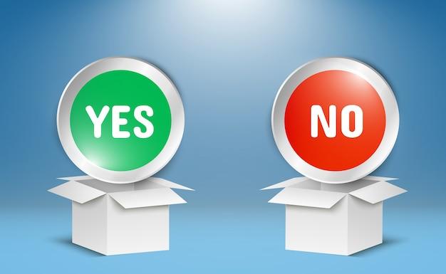 Abbildung von ja- oder nein-schaltflächen. auswahlsymbole auf transparentem hintergrund.