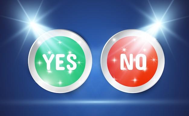 Abbildung von ja- oder nein-tasten. auswahlsymbole