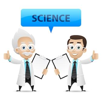 Abbildung, wissenschaftler zeigen daumen nach oben, format eps 10