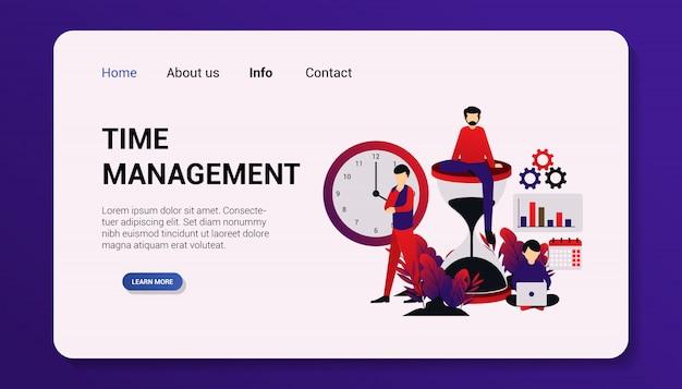 Abbildung, zeitmanagement landing page flat design