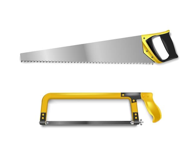 Abbildung zwei handsägen mit gelbem griff. handsäge zum schneiden von metall und baum