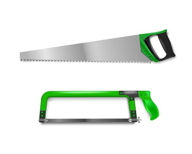 Abbildung zwei handsägen mit grünem griff. handsäge zum schneiden von metall und baum