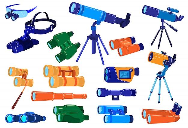 Abbildungen der optischen fernglasausrüstung, zeichentrickfilmsuche, erkundung und zoomsicht mit teleskop, fernglas, fernglas