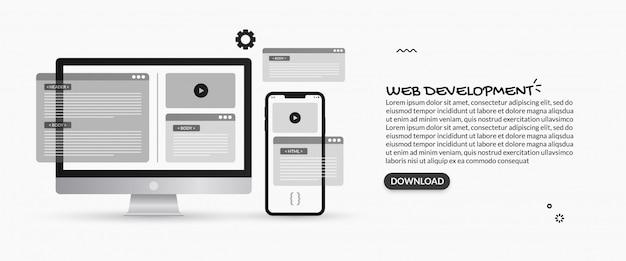 Abbildungen der programmierung und webentwicklung, ux ui design-konzept