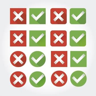 Abbrechen und überprüfen button collection