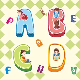 Abc-alphabetikone, kind, das innerhalb der alphabet abc-ikonenillustration spielt