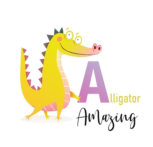 Abc für kinder, lustiger alligator, der brief a hält.
