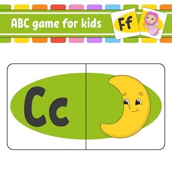 Abc-karteikarten. alphabet für kinder. briefe lernen. arbeitsblatt zur bildungsentwicklung.