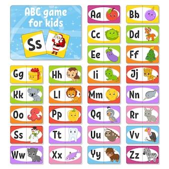Abc-karteikarten einstellen. alphabet für kinder. briefe lernen.