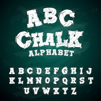 Abc-kreide-schriftart-alphabet-tafel