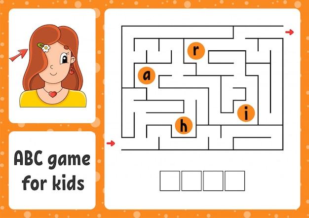Abc-labyrinth für kinder. antworte den haaren. rechtecklabyrinth. arbeitsblatt für aktivitäten.