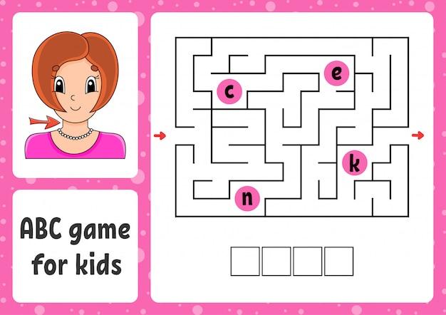 Abc-labyrinth für kinder. antworte hals. rechtecklabyrinth. arbeitsblatt für aktivitäten.