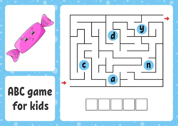 Abc labyrinth für kinder rechteckiges labyrinth