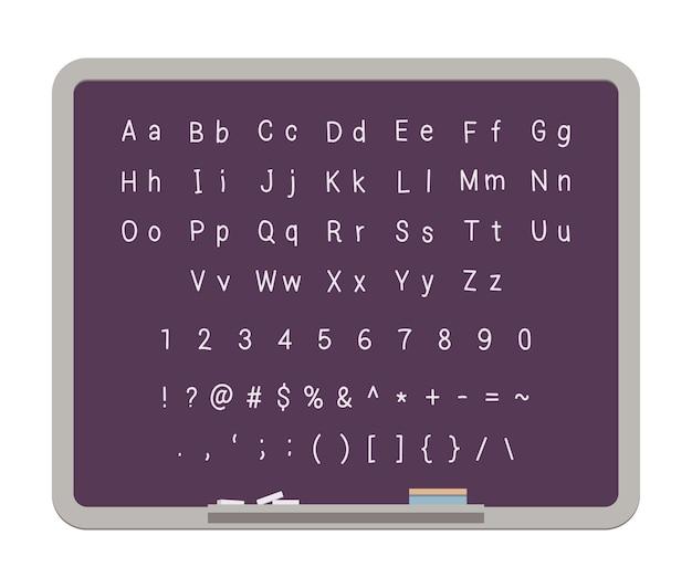 Abc. lateinisches alphabet an der tafel