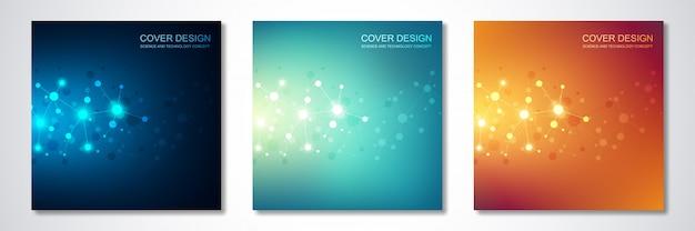 Abdeckung oder broschüre, mit molekülen und neuronalen netzwerk