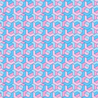 Abdeckungsschablonendesign mit rosa und blauem geometrischem muster
