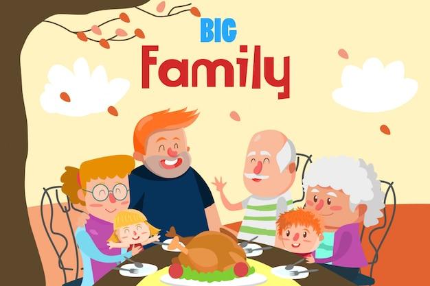 Abendessen mit großer familienillustration