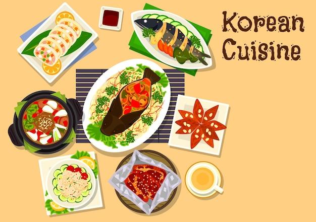 Abendessen mit meeresfrüchten der koreanischen küche mit dessert mit gedämpftem karpfen mit gemüse, jakobsmuschelsalat, gebackenem aal, gebratener makrele, würziger rindfleischsuppe, gefülltem tintenfisch, ingwerplätzchen mit honig