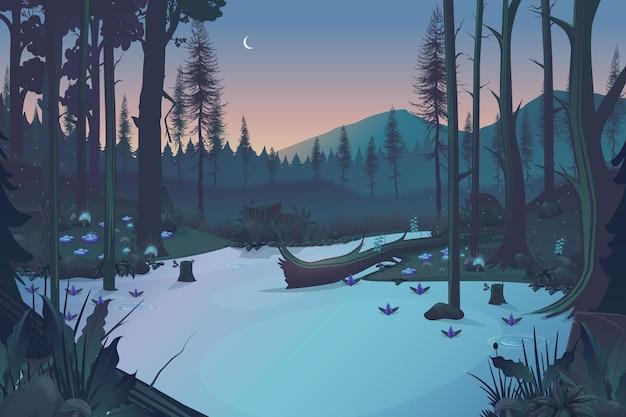 Abendhintergrund des märchenwaldes mit see und bergen