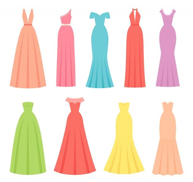Abendkleider für frauen, illustration. weibliches textil, flaches design.